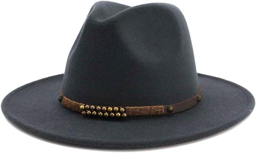 LHZUS Hats Elegant Men's Women's Wide Brim Cotton Jazz Fedora Hat Tribe Party Formal Hat Panama Metal Decoration Dress Hat (Color : Dark Gray, Size : 56-58cm)
