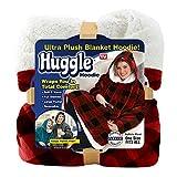Ontel Huggle Hoodie,Ultra Plush Blanket, Buffalo Plaid, One Size