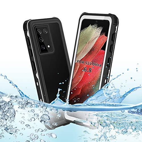 BDIG Custodia Impermeabile Samsung Galaxy S21 Ultra,IP68 Certificato Waterproof Cover Slim Antiurto Antineve Antipolvere AntiGraffio Subacquea Caso Full Protezione Impermeabile Custodia per S21 Ultra