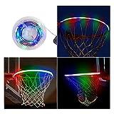 SANESKY LED Basketball Rim Lights, Waterproof Basketball Solar Energy Hoop Light, 4.9ft LED Strap Lights -Battery Box, Adhesive Pads, Zip Ties, Glow-in-The-Dark, Sports Gift for Kids Boys Pool School