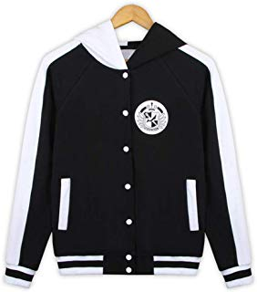 Anime Danganronpa Baseball Jacket Cosplay Uniform Costume Monokuma Sweatshirt Hoodie Coat