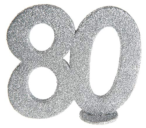 cama24com XXL Tischdeko Zahl 80 Geburtstag Silber Glitzer 1 Stück Party Deko mit Palandi® Sticker