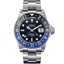 Davosa Swiss Made Professional Men Watch, Ternos Automatic Illuminated Analog Display with GMT Dual Time, Stylish Wrist Band & Ceramic Bezel