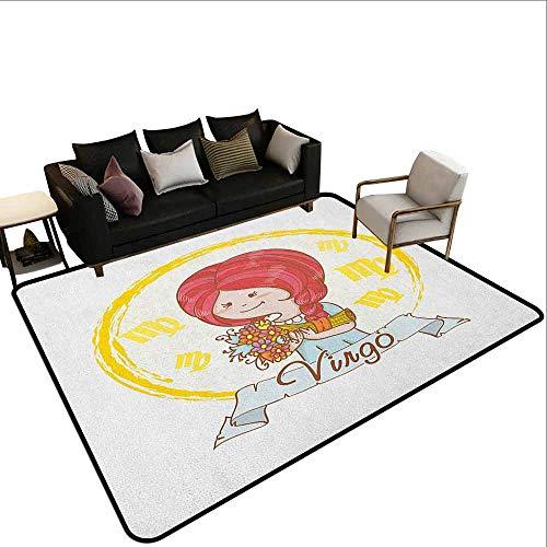MsShe tapijt Maagd, Astrologische sterrenbeeld met vrouw met vleugels en schattige jurk Horoscoop, Vermilion Seafoam Oranje
