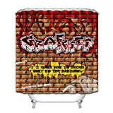 WGEMXC Bad Bad Vorhang, 100prozent Polyester Stoff Graffiti Ziegel Wand Duschvorhang Liner Bad Haken 183X183 Cm