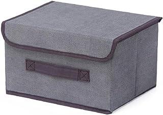 chengbaohuqu Boîte De Rangement Avec Couvercle Panier Organisateur Grande Porte-mêle Tissu Pour Le Domicile Bureau Gris L