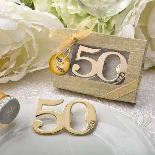 DISOK Lote 20 Abrebotellas de 50 Aniversario en Caja de Regalo. Detalles para Bodas de Oro. Regalos Bodas 50 Aniversario.