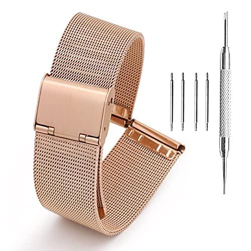 Adallor 24mm Cinturino Orologio, Maglia Metallo di Ricambio per Sony Smartwatch 2 SW2, Fossil Q Nate Hybrid, Michael Kors Grayson Sofie