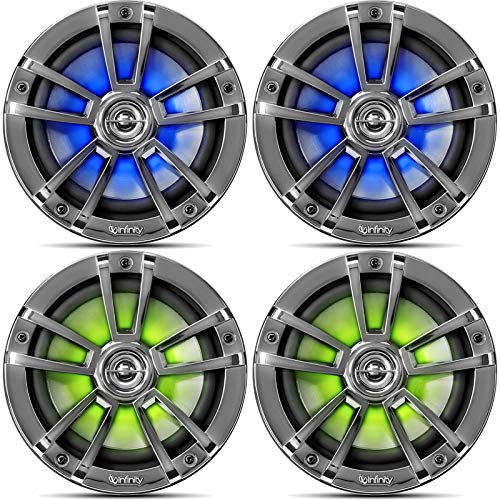 2 Pairs (QTY 4) of OEM Replacement 6.5' 2-Way Coaxial Marine Audio Multi-Element Boat Speakers with Multi-Color RGB Lighting Option (White)