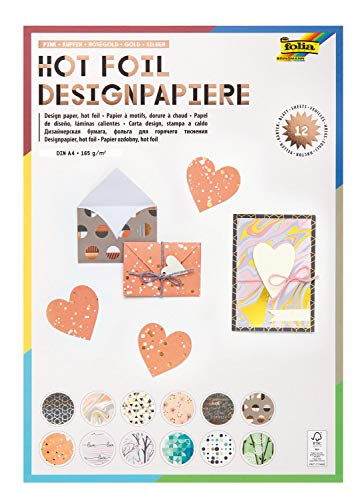 folia 11849 - Designpapier Block Hotfoil, DIN A4, 165 g/qm, 12 Blatt sortiert in verschiedenen Motiven, hochwertig illustriertes Papier mit Heißfolienapplikation