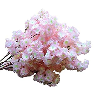 4Pcs Artificial Cherry Blossom Flowers Simulation Peach Blossom Branches Flowers Silk Peach Flowers Spring Peach Fake Plants for Wedding Arch Home Indoor Decorative (3.5ft) (Light Pink)