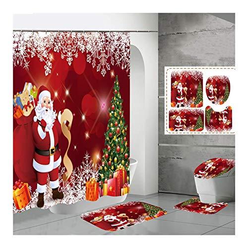 MUzoo Cortina de Ducha de Santa Cortina de Navidad Tapete de baño y Cortina de Ducha Cortina de Cuatro Piezas, para decoración del hogar, E, 150x180cm (Color : B, Size : 120x180cm)
