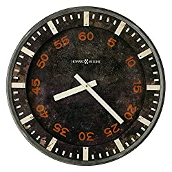Howard Miller Old School Gallery Wall Clock 625-721 – Old World Finish, Aged Black Dial, Red Arabic Numerals, Vintage Home Décor, Quartz Movement