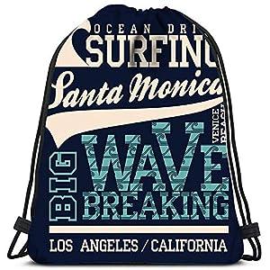 51Nd+Ar9OmL. SS300  - wallxxj Bolsas Cinch Surf Playa De Santa Mónica California Surfers Bolsa De Lavandería Gimnasio Bolsa De Yoga Bolsas con…