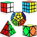 Dreampark Speed Cube Set, 5 Pack Magic Cube Bundle - 2x2x2 3x3x3 Pyramid Megaminx Skew Cube Smooth Sticker Cubes Collection Puzzle Toy for Kids from Dreampark