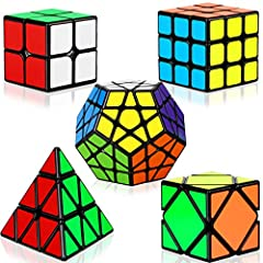 PUZZLE TOY - This Dreampark speed cube set includes 5 cubes (2x2 cube, 3x3 cube, Megaminx cube, Pyramid cube and Skew cube); promotes your child's spatial awareness by activating their imagination and creativity. STICKER CUBE - The Speed Cube is made...