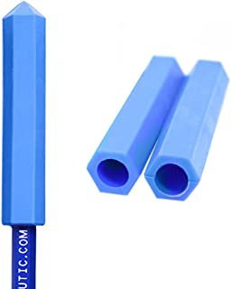 ARK's Krypto-Bite Pencil Topper Chewable Tubes - Made in the USA (3 Pack of Xtra Xtra Tough, Blue)