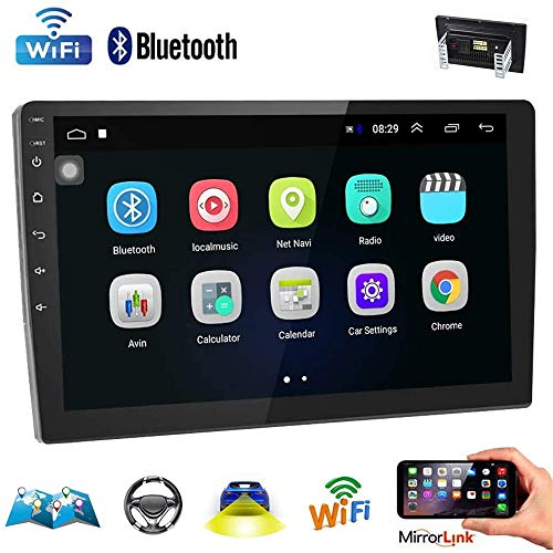 Price comparison product image Double Din Car Stereo(Does not Support SUB) 10.1 Inch Android GPS Car Audio Touch Screen Car Radio with Bluetooth Indash Head Unit Support FM / WiFi / Mirror Link / Backup Camera / DVR / SWC / Dual USB