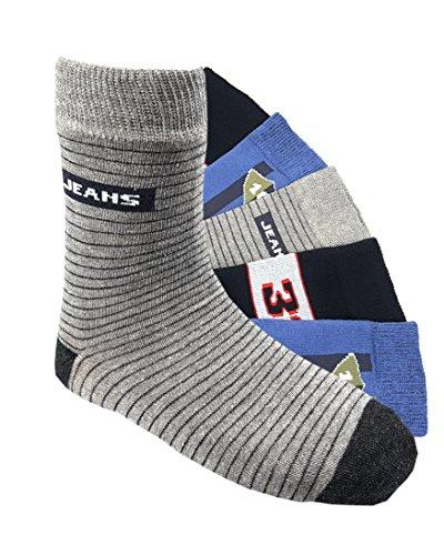 Laake Kinder Socken handgekettelt 6 Paar aus besonders weicher Baumwolle bunter, 35-38, Jeans
