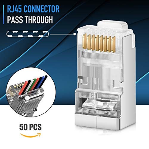 Shielded RJ45 Cat6 Connectors - Pass Through Connector Gold Plated 3 Prong 8P8C Modular Plugs for 23AWG Twisted Pair Wire & Standard Cables (50 Pack)