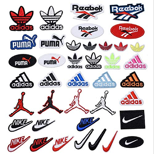 40Pack Brand Logo Patches, Iron on Sew on Embroidered Logo Patch Appliques Set for Jackets, Hats, Backpacks, Jeans, DIY Accessories,Iron on Logo Patches,Iron on Decals