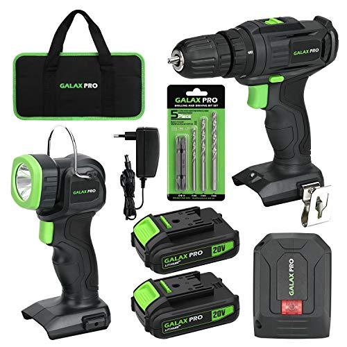 GALAX PRO 20V Kit de Taladro Inalámbrico,Taladro eléctrico inalámbrico con dos configuraciones de velocidad,110Lm Lámparas Inalámbricas, 20V Adaptador USB,Cargador y 2 Baterías de 1.3Ah