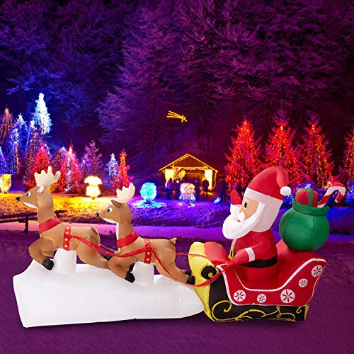 KINTNESS 7ft Christmas Inflatable Santa Claus on Sleigh with Two Flying Reindeer & Gifts LED Lights Outdoor Yard Decoration