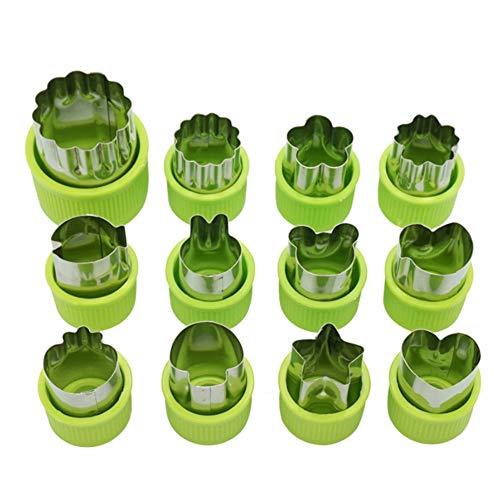 Nifogo Plätzchen Ausstecher, Ausstechformen, 12 Stück Edelstahl Keksausstecher, Torten Deko, Fondant Ausstecher Backzubehör für Kuchen Plätzchen Gemüse Obst (12 Stück)
