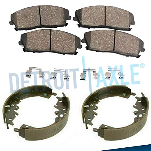 Detroit Axle - Front Ceramic Brake Pads w/Hardware + Rear Brake Shoes for 2009-2014 Nissan Cube - [2007-2012 Sentra L4 2.0L] - 2007-2012 Versa L4 1.8L