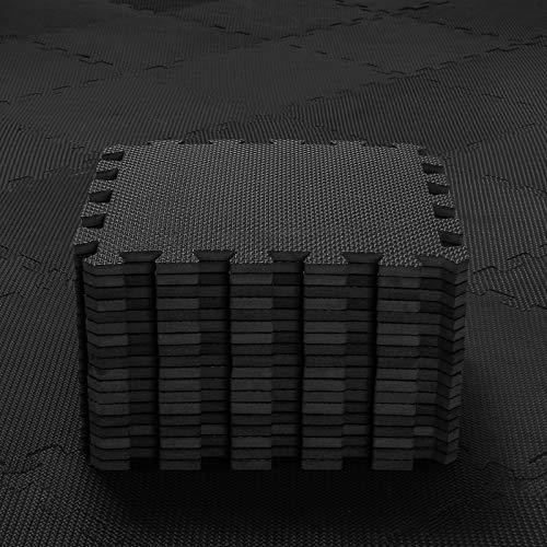 qqpp EVA Puzzle Tapis Mousse Bebe - Idéal pour Les Tapis De Jeux Enfant,18 Dalles(30*30*1cm),Noir.QQC-Db18N