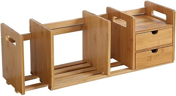 Agelloc 2 Drawer Natural Bamboo Wood Desktop Organizer Free Style Display Stand Shelf Rack Assembled Bookcase Adjustable Display Rack