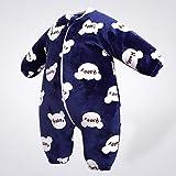 Invierno Calentito Pyjamas,Mono De Chaqueta De Invierno Para Bebé, Saco De Dormir De Franela Cálido Grueso Con Estampado Para Niño Pequeño-Mickey Azul Oscuro_# 80