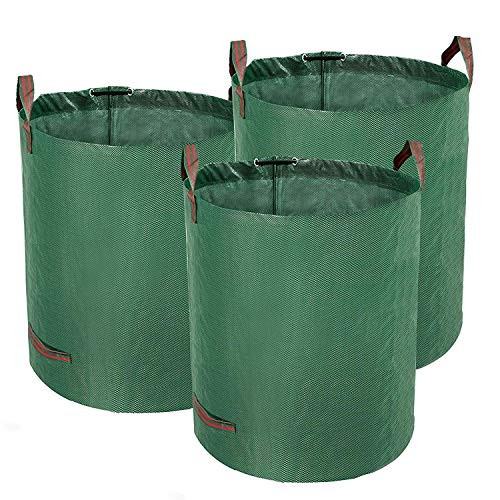 TerCasa Gartensack 3er Pack, Abfallsack 272 L, Gartenabfallsack Höhe 76 cm, Ø 67 cm, Sack für Gartenabfälle aus reißfestem Polypropylen-Gewebe, mit Verstärkungsring und 4 Griffen, grün