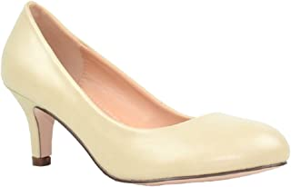 Chase & Chloe Kona-1 Low Heel Round Toe Women's Pump Shoes