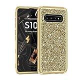 Folice for Galaxy S10手机壳,全身闪光三合一时尚设计豪华闪光闪闪发光的闪闪发光的坚固耐用的保护套,适用于Samsung Galaxy S3(Gold + LightGold)