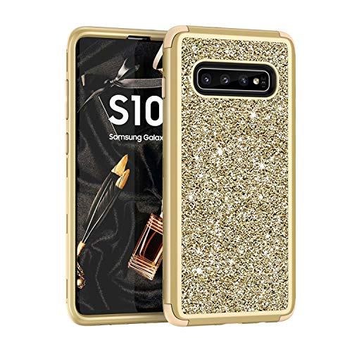 Folice for Galaxy S10 Case, Full Body Glitter 3 in 1 Fashion Design Luxury Glitter Bling Shiny Sparkling Hybrid Rugged Protection Case for Samsung Galaxy S10 (Gold+LightGold)