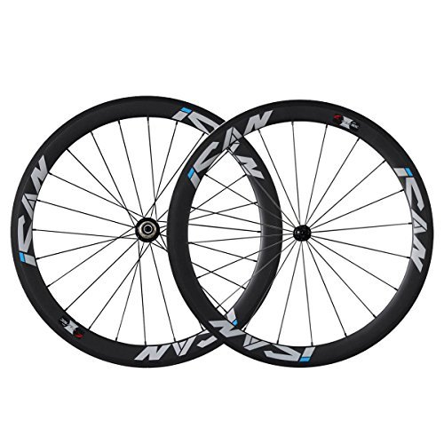 ICAN 50mm 700C Carbon Wheels Road Bike Clincher Rim Brake Only 1510g (Classic Wheelset)