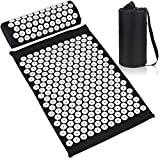 ESUP Acupressure Mat and Pillow Massage Set for Back, Neck, Headaches Muscle Relaxation,Sciatic Pain Relief and Trigger Point Therapy, Best Mothers Day Gifts (Black)