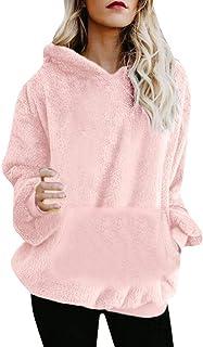 Suéter Jersey Mujer Sudadera Caliente y Esponjoso Tops Chaqueta Abrigo Navidad Mujer Otoño-Invierno Talla Grande Hoodie Su...