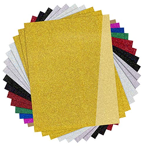 "JANDJPACKAGING Glitter HTV Vinyl for T-Shirts,15 Pack - 12""x 10"" Sheets - 9 Assorted Colors, Glitter Heat Transfer Vinyl for Cricut and Silhouette Cameo"