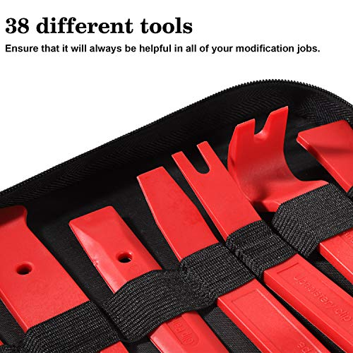 Manfiter 38Pcs Trim Removal Tool, Pry Kit Car Panel Tool Radio Removal Tool Kit, Auto Clip Pliers Fastener Remover Pry Tool Kit, Car Upholstery Repair Kit, Prying Tool Kit with Storage Bag 2 (Red)