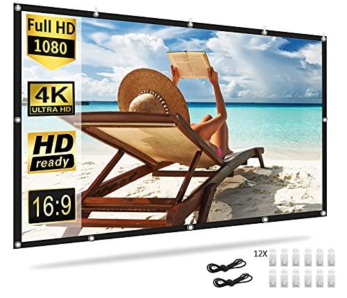 OUSMIN Schermo per proiettore 100 pollici, Schermo del proiettore HD 16: 9, pieghevole lavabile, antirughe, schermo 4K HD per casa, scuola, riunioni, viaggi