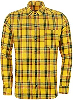 Mculivod Plaid Flannel Warm Casual Button Down Slim Fit Men's Shirts