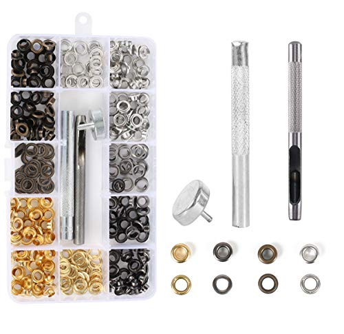 200 Set 400 Pieces Grommet Metal Eyelet Kit Use in Bags Shoes DIY Craft Projects