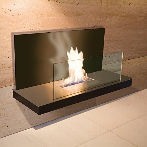 Wall Flame 2 schwarz gebürsteter Edelstahl Glas schwarz Ethanolkamin - 540 b