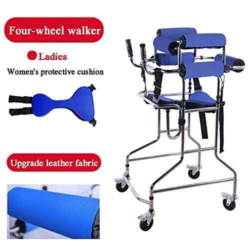 ZYFWBDZ Walker, Stehender Gehgestell, Rollstuhl, Höhenverstellung, Richtungsbremsrolle Infusionsständer, Geeignet für Behinderte und Patienten,4 Wheels for Women