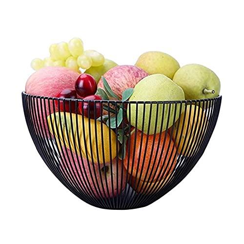 JYV Frutero Frutero de Metal Negro Cesta de Frutas Creativo de múltiples Funciones del Cuenco de Fruta de la Sala de Gran Capacidad del Cuenco de Fruta Decoración (Tamaño: 25 * 15 cm)