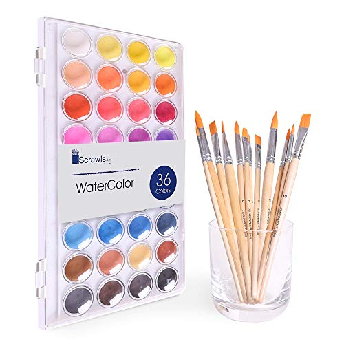 Watercolor Cake Set, 36 Watercolor Paint Set and 12 Paint Brushes. This Watercolors Set are Great for Children/Kids. The Perfect Brushes and Water Color pan Set.
