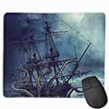 Alfombrilla de ratón 9,8x11,8 cm Ocean Kraken Attack Nautical Pirate Ship Laptop Alfombrilla de ratón para Juegos Resistente al Agua Antideslizante Anime