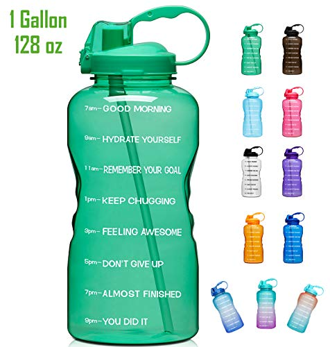 Giotto Large 1 Gallon/128oz Motivational Water Bottle with Time Marker & Straw, Leakproof Tritan BPA Free, Ensure You Drink Enough Water Daily for Fitness, Gym and Outdoor Sports-Green